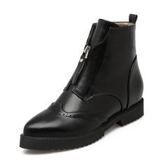 Femmes PU Talon bottier Bout fermé Bottes Bottines avec Zip chaussures (088146338)