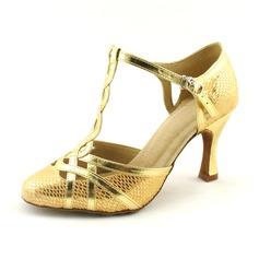 Женщины кожа Мерцающая отделка На каблуках На каблуках Бальные танцы с Т-ремешок Обувь для танцев (053020145)