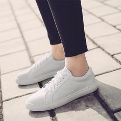 Женщины PU Плоский каблук На плокой подошве Закрытый мыс с Шнуровка обувь (086138671)