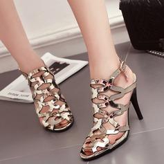 Mulheres Couro Brilhante Salto agulha Sandálias Beach Wedding Shoes com Fivela (047125429)