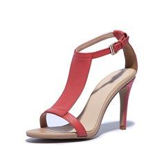 Konstläder Stilettklack Sandaler Pumps med Spänne skor (087048802)