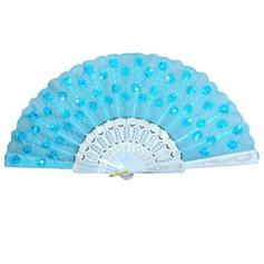 Элегантные пластиковые/Шелковые стороны вентилятора с блестки (набор из 6) (051051212)