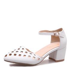 Mulheres Couro Salto robusto Sandálias Bombas Fechados Mary Jane com Fivela sapatos (085167119)