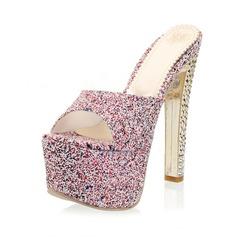 Glittrande Glitter Tjockt Häl Sandaler Plattform Tofflor skor (087049028)