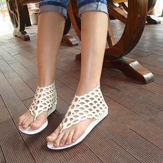 Mulheres Couro Sem salto Sandálias com Zíper Oca-out sapatos (087119000)