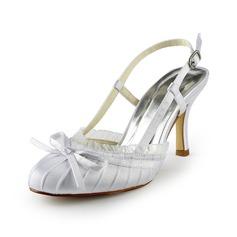 Mulher Cetim Salto carretel Fechados Plataforma Sapatos abertos com Laço Dobras (047024512)