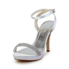 Mulheres Cetim Salto cone Plataforma Sandálias Sapatos abertos com Strass (047018220)