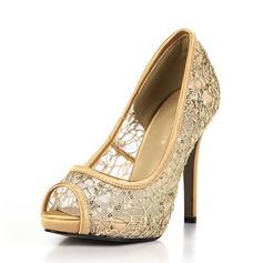 Kvinnor Plast Gummi Stilettklack Pumps Peep Toe skor (117153676)