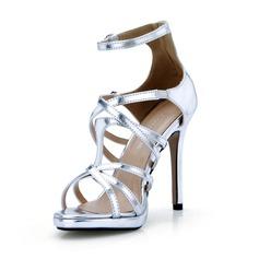 Lackleder Stöckel Absatz Sandalen Absatzschuhe mit Schnalle Schuhe (087047292)