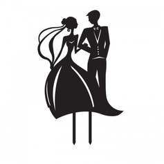 Beeldje Bride en Bruidegom Acryl Huwelijk Taarttoppers/Vrijgezellenfeest Taarttoppers (119063246)
