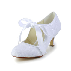 Kvinnor Spets Satin Spool Heel Stängt Toe Pumps med Ribbon Tie (047004932)