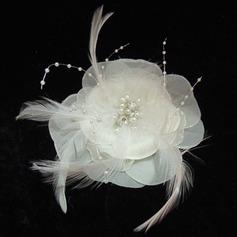Гламурный Перлы ложный/перо/шифон Цветы и перья с жемчуг (042025403)