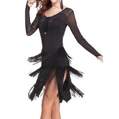 Женщины Одежда для танцев Спандекс Латино Платья (115121811)