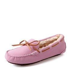 Женщины Замша Плоский каблук На плокой подошве Закрытый мыс с бантом обувь (086149305)