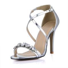 Женщины Лакированная кожа Высокий тонкий каблук Сандалии Открытый мыс с горный хрусталь пряжка обувь (087067290)