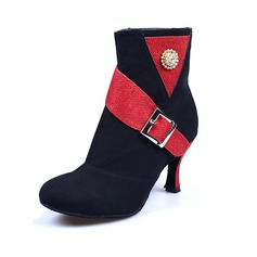 De mujer Nubuck Salón botas de danza con Rhinestone Hebilla Zapatos de danza (053041205)