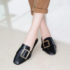 Женщины PU Плоский каблук На плокой подошве Закрытый мыс с пряжка обувь (086145732)