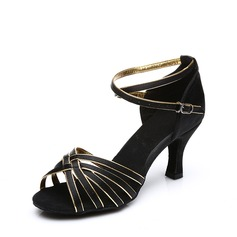 Женщины Атлас На каблуках Сандалии Латино с Ремешок на щиколотке пряжка Обувь для танцев (053113011)
