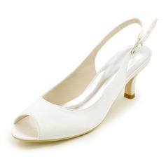 Женщины шелка как атласное Высокий тонкий каблук Открытый мыс На каблуках Босоножки с Другие (047111545)