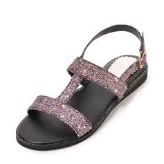 Женщины Мерцающая отделка Плоский каблук Сандалии Открытый мыс Босоножки с Мерцающая отделка обувь (087155459)