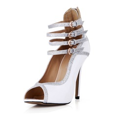 Patent Leather Sparkling Glitter Stiletto Heel Pumps Peep Toe With Buckle shoes (087042676)
