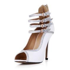 Patent Leather Sprankelende Glitter Stiletto Heel Pumps Peep Toe met Gesp schoenen (087042676)