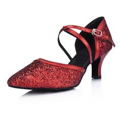 Mulheres Couro Espumante Glitter Saltos Bombas Moderno Salão de Baile Sapatos de dança (053008918)
