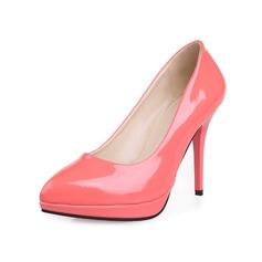 Couro Brilhante Salto agulha Bombas Fechados sapatos (085047205)
