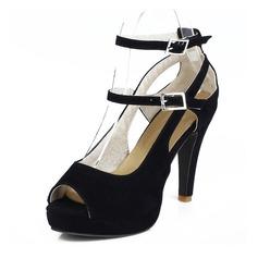 Женщины кожа Высокий тонкий каблук На каблуках Открытый мыс с пряжка Соединение врасщеп обувь (085105714)