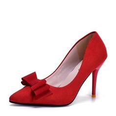 Женщины Замша Высокий тонкий каблук На каблуках Закрытый мыс с бантом обувь (085150501)