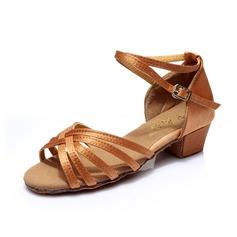Детская обувь Атлас На каблуках Сандалии Латино с Ремешок на щиколотке Обувь для танцев (053053045)
