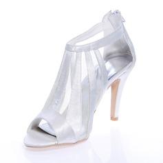 Женщины Атлас Высокий тонкий каблук Открытый мыс На каблуках с Застежка-молния (047039109)