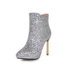 Женщины Мерцающая отделка Высокий тонкий каблук Полусапоги обувь (088097110)