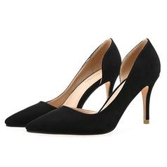 Женщины Замша Высокий тонкий каблук На каблуках Закрытый мыс обувь (085092464)