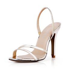 Leatherette Stiletto Heel Sandals Pumps Peep Toe Slingbacks shoes (087042763)