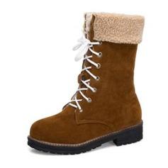 Femmes Suède Talon bottier Bottes Bottes mi-mollets Bottes neige avec Dentelle chaussures (088187329)