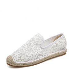 Женщины Кружева Плоский каблук На плокой подошве Закрытый мыс с Другие обувь (086138669)