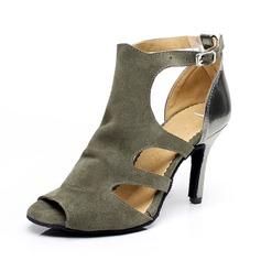 Женщины кожа Замша На каблуках Сандалии Латино с пряжка Обувь для танцев (053065476)