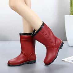 Женщины PVC Низкий каблук Ботинки Сапоги до середины голени Резиновые сапоги с Другие обувь (088138746)