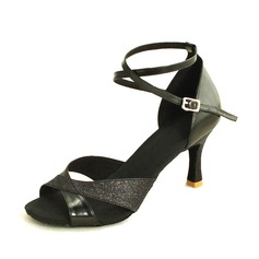 Women's Leatherette Sparkling Glitter Heels Sandals Latin With Ankle Strap Dance Shoes (053016455)