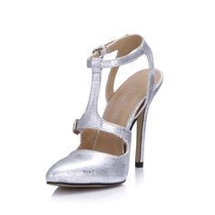 Pelle verniciata Tacco a spillo Stiletto Punta chiusa Con cinturino con Fibbia scarpe (085026439)