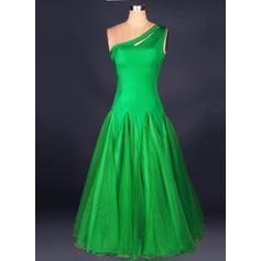 Женщины Одежда для танцев Спандекс Органза Латино Платья (115091487)