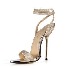 Женщины Мерцающая отделка Высокий тонкий каблук Сандалии Босоножки с пряжка обувь (087051964)