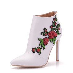 Женщины кожа Высокий тонкий каблук Ботинки На каблуках с Цветок (047149245)