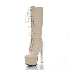 Kunstleer Stiletto Heel Half-Kuit Laarzen met Vastrijgen schoenen (088056942)