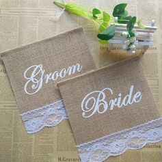 Bride and Groom Linen Photo Booth Props/Banner (2 Pieces) (131143935)