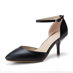 Donna Similpelle Tacco a spillo Sandalo Stiletto Punta chiusa con Cristallo Fibbia scarpe (085111835)