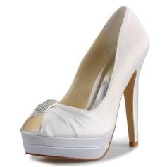 Kvinnor Satäng Stilettklack Peep Toe Plattform Pumps Sandaler med Strass (047056183)
