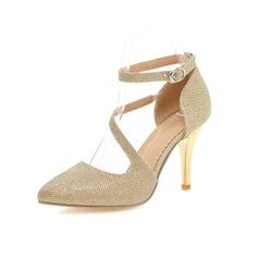 Femmes Similicuir Talon stiletto Escarpins Bout fermé chaussures (085094862)