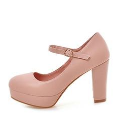 Donna Similpelle Tacco spesso Stiletto con Fibbia scarpe (085105635)